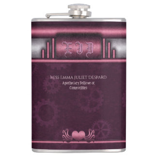 Monogram Steampunked Deco, pink metallic heart Flask