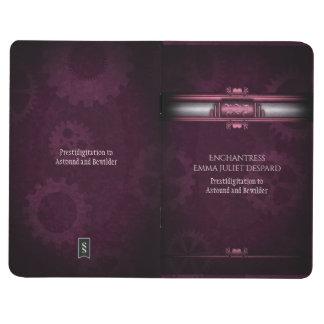 Monogram Steampunked Deco, pink metallic heart Journal