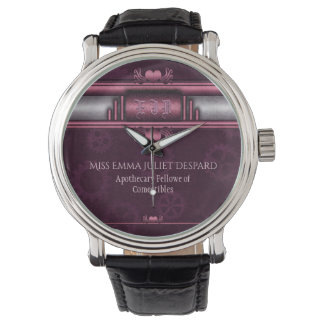 Monogram Steampunked Deco, pink metallic heart Watch