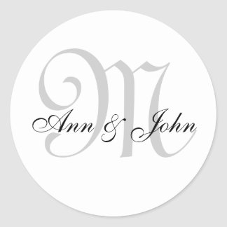 Monogram Stickers for Wedding Favours Grey