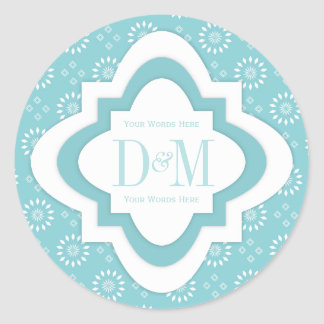 Monogram Stickers In Paradise Blue And White