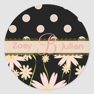 Monogram stickers pink wildflowers and polka dots
