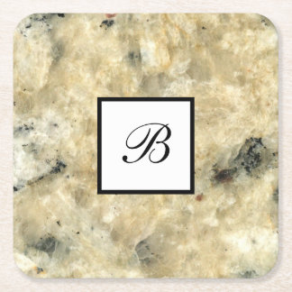 Monogram Stone Look Drink Coasters