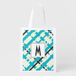 Monogram Striped Custom Reusable Grocery Bag