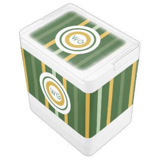 Monogram Striped Green N Gold Igloo Drink Cooler