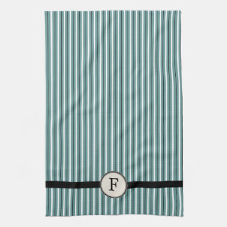 Monogram Striped Guest / Tea Towel, French Blue Kitchen Towel