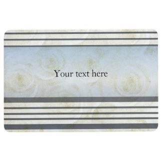 Monogram Striped  White Roses Floor Mat