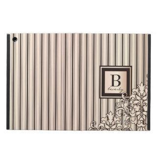 Monogram Stripes Damask Feminine Girly Monochrome Cover For iPad Air