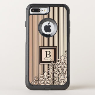 Monogram Stripes Damask Feminine Girly Monochrome OtterBox Commuter iPhone 8 Plus/7 Plus Case