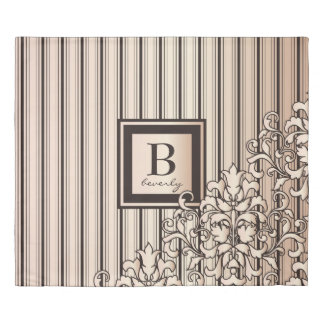 Monogram Stripes Damask Feminine Girly Pretty Duvet Cover