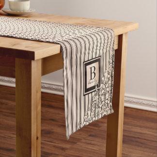 Monogram Stripes Damask Feminine Girly Pretty Short Table Runner