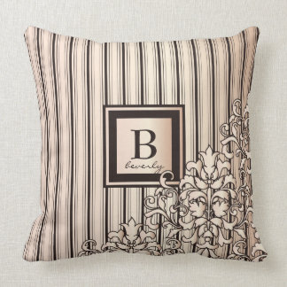 Monogram Stripes Damask Feminine Girly Pretty Throw Pillow