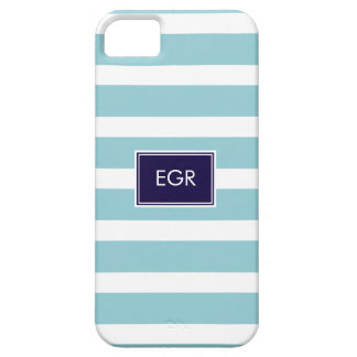 Monogram Stripes iPhone Cases (Aqua/Navy)