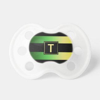 Monogram & Stripes Pacifier- Lemon Lime Baby Pacifier