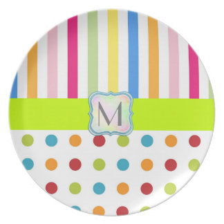 MONOGRAM STRIPES PLATE, COLORFUL STRIPE AND DOTS PLATE