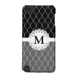 Monogram - Stylish Black and White Lace Pattern iPod Touch 5G Cases