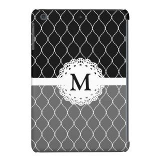 Monogram - Stylish Black and White Lace Pattern iPad Mini Covers