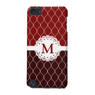 Monogram - Stylish Brown and White Lace Pattern iPod Touch (5th Generation) Case