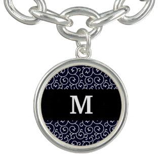 Monogram / Stylish Modern Pattern (blue) Bracelets