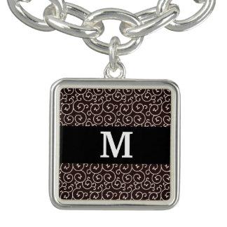 Monogram / Stylish Modern Pattern Charm Bracelet