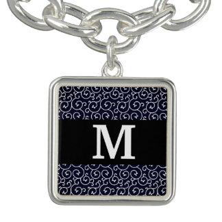 Monogram / Stylish Pattern / modern blue Charm Bracelets