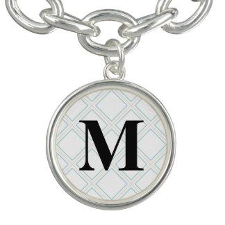 Monogram / Stylish Textile Pattern Charm Bracelet