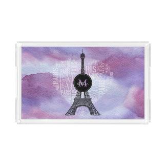 Monogram   Stylish Tower & Inscriptions Paris Acrylic Tray