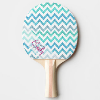 Monogram Summer Sea Teal Turquoise Glitter Chevron Ping Pong Paddle