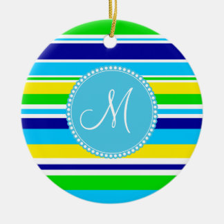 Monogram Summer Striped Teal Green Yellow Blue Ceramic Ornament