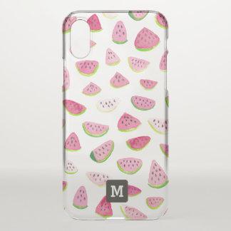 Monogram. Summer Watermelons in Watercolor. iPhone X Case