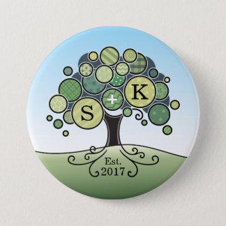 Monogram Summer Wedding Patchwork Pattern Tree 3 Inch Round Button
