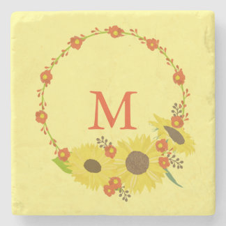 Monogram Sunflower design Stone Coaster