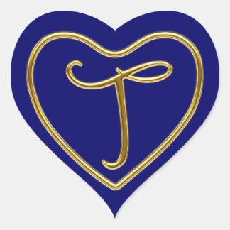 Monogram T in 3D gold Heart Sticker