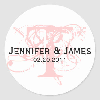 Monogram T Save the Date Wedding Sticker