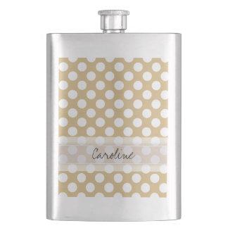 Monogram Tan White Cute Chic Polka Dot Pattern Hip Flask
