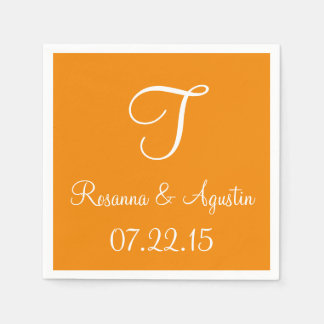 Monogram Tangerine Cool Color Coordinated Disposable Napkin