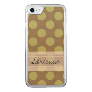 Monogram Taupe Olive Green Chic Polka Dot Pattern Carved iPhone 7 Case