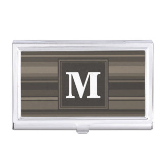 Monogram taupe stripes business card holder