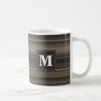 Monogram taupe stripes coffee mug