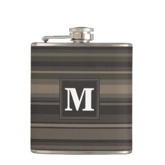 Monogram taupe stripes flask