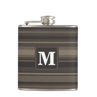 Monogram taupe stripes hip flask