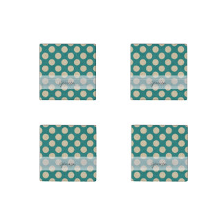 Monogram Teal Beige Chic Polka Dot Pattern Stone Magnets