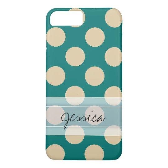 Monogram Teal Beige Chic Polka Dot Pattern iPhone 8 Plus/7 Plus Case