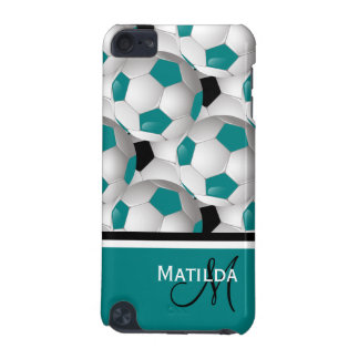 Monogram Teal Black Soccer Ball Pattern iPod Touch (5th Generation) Cover