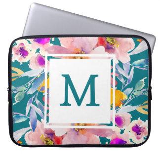 Monogram Teal Floral Modern Elegant Laptop Sleeve