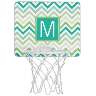 Monogram | Teal & Green Chevron Pattern Mini Basketball Hoop