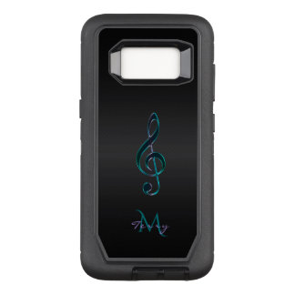 Monogram Teal Green Lavender Music Clef OtterBox Defender Samsung Galaxy S8 Case