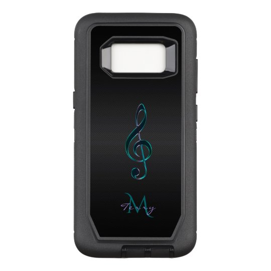 Monogram Teal Green Lavender Music Clef OtterBox Defender Samsung Galaxy S8 Case