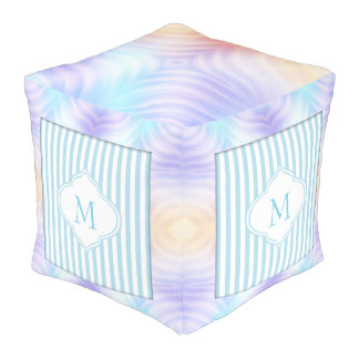 Monogram Teal Lavender Orange Stripe Pouf