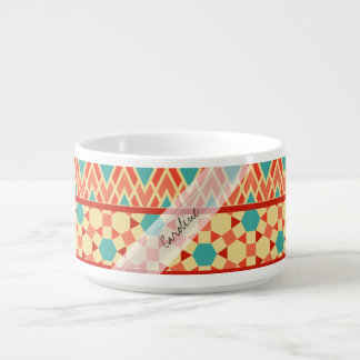 Monogram Teal Pink Abstract Tribal Print Pattern Chili Bowl